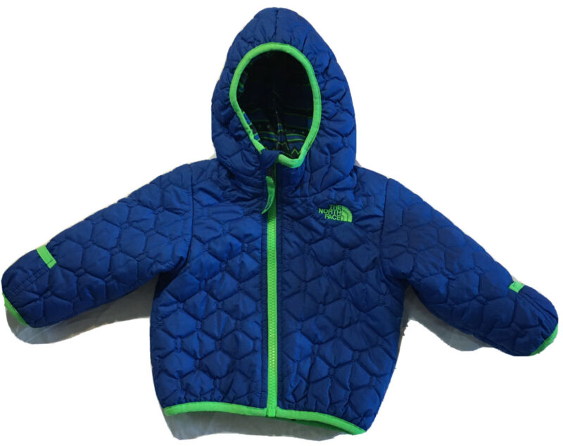 The North Face Baby Perrito reversible Quilted Hooded jacket Sz 6-12 months EUC