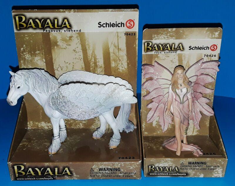 New Schleich Bayala Pegasus 70423 and Schleich Bayala Feya 70426 Lot - Retired