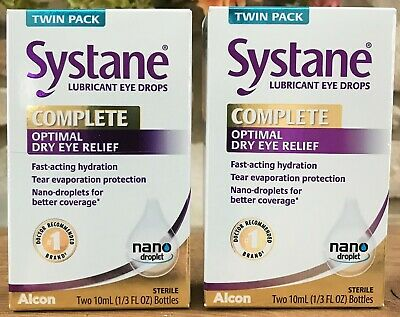 2 Twin Packs Systane Complete Optimal Dry Eye Relief Lubricant Drops EXP 02/2022
