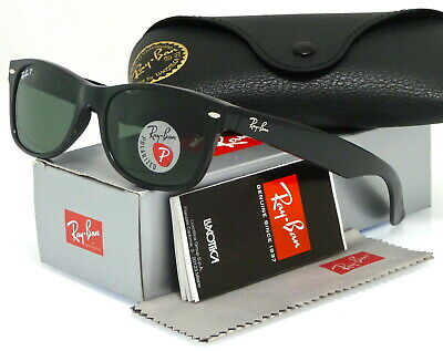 Ray-Ban New Wayfarer Black l Polarized Green Classic G-15 RB2132 901/58 (Rb2132 901 52)