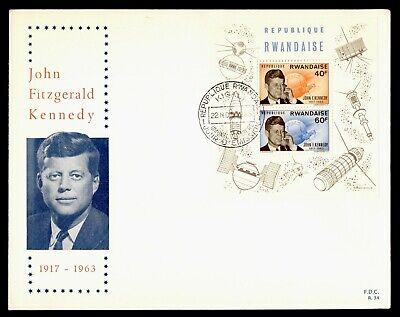 DR WHO 1965 RWANDA FDC SPACE JOHN F KENNEDY JFK CACHET S/S  Lg20589