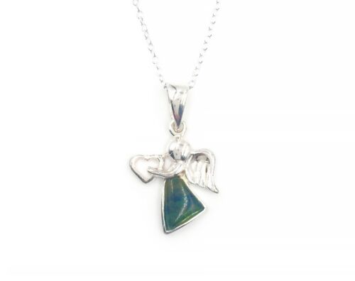 Irish Connemara Marble Angel with Heart Pendant Necklace by J. C. Walsh & Sons