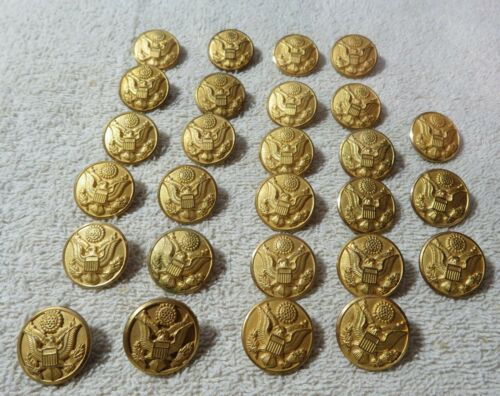 "27 Vintage 7/8"" Gold Toned Military Uniform Buttons Waterbury Military Decor Art"