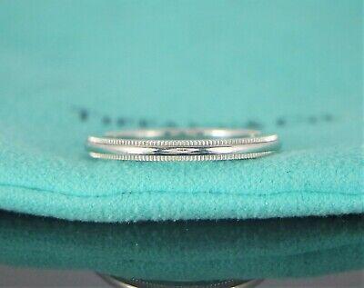 $950 Tiffany & Co Classic Platinum 2mm Milgrain Wedding Band Anniversary Ring 7 (Classic Milgrain Wedding Band)
