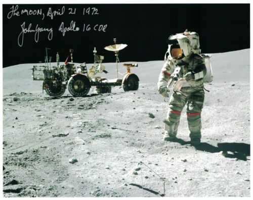 John Young Apollo 16  Photo Rover Signed Lunar Surface