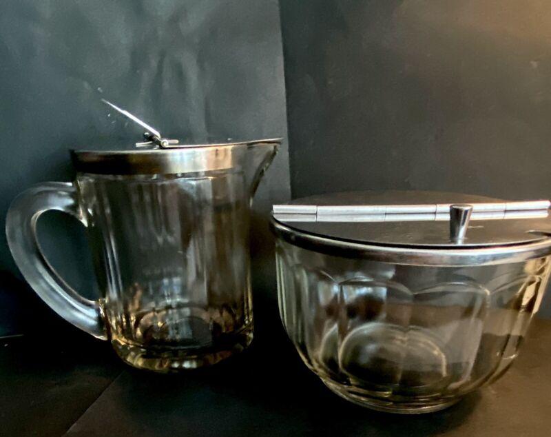 Vintage Bloomfield Industries Restaurant Diner Flip Top Sugar Bowl & Creamer Set
