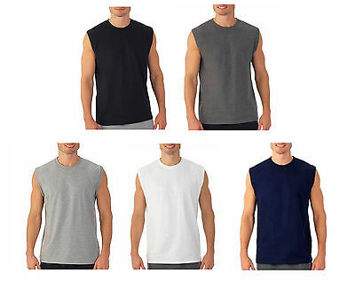 Mens Sleeveless Muscle Tee Cotton Solid Blank Tank T Shirt