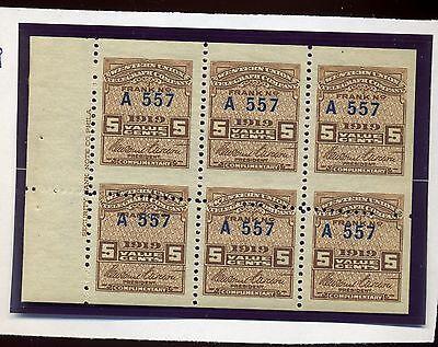 Scott #16T55 Var Western Union Mint Booklet Pane with Dramatic Misperf ERROR