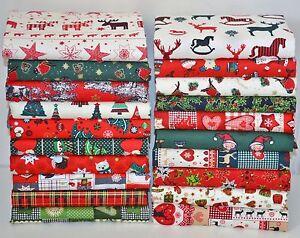 CHRISTMAS FABRIC SCRAPS BUNDLE 100% COTTON  OFF CUTS REMNANTS 20 PIECE FREEPOST