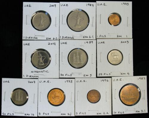 Lot of 10 UAE United Arab Emirates 1, 5, 10, 25, 50 Fils, 1 Dirham most BU