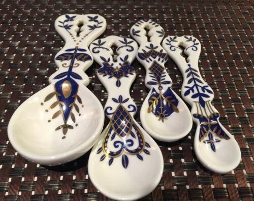 Vintage Ceramic Measuring Spoons Blue & White Handpainted