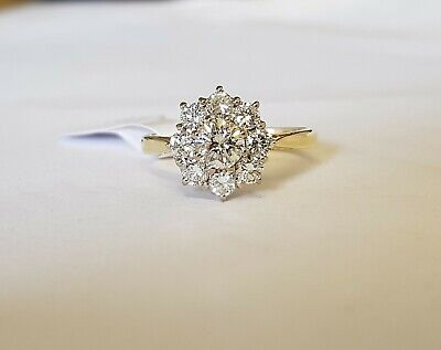 18ct Gold 9 Stone Diamond Cluster Ring 1.25ct