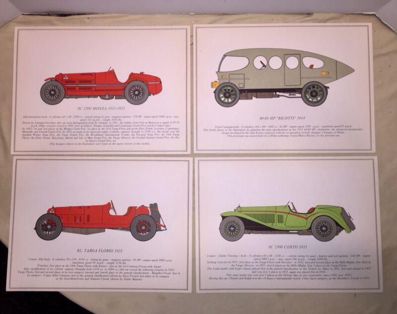 Vintage Alfa Romeo Art Brochure Individual Prints Racing to Road History