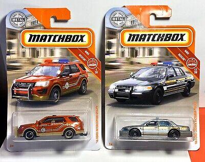 2019 Matchbox 2006 Ford Crown Victoria Police Car & '16 Interceptor Utility Lot