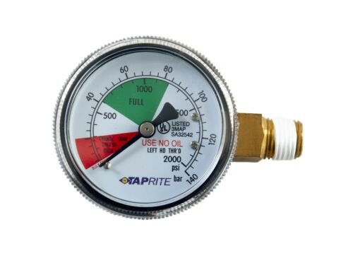 Taprite CO2 High Performance Regulator Replacement Gauge 0-2000 PSI - Ships Free