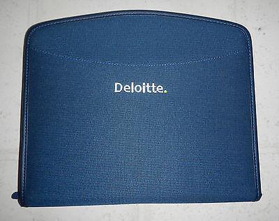 New Deloitte Touche Company Logo Zippered Padfolio Notebook Organizer