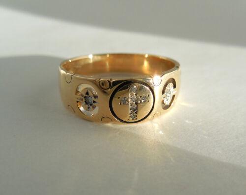 14K Gold DIAMOND CROSS Ring Band - FINE QUALITY! CLASSIC! Size 10 3/4