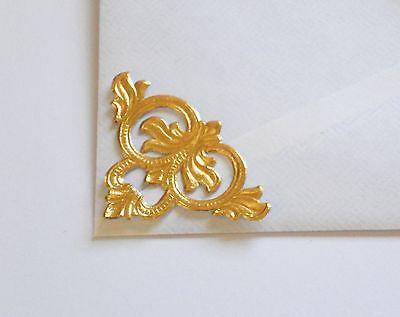 - German Dresden Die-Cut Rose Gold Foil Embossed Filigree 4 CORNERS Medallion