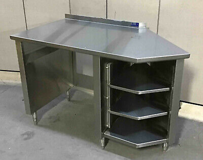 Stainless Steel 56 X 30 Table With Undershelf Cabinet 3 Shelves Corner