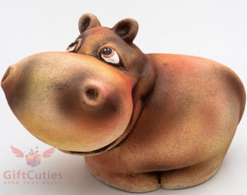 Clay Grog figurine of Hippopotamus Hippo souvenir handmade hand painted