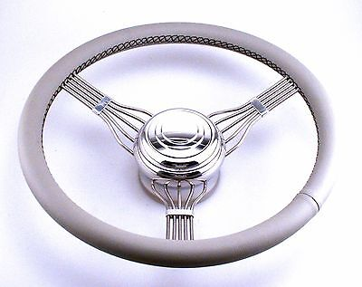 STAINLESS STEEL BANJO LEATHER WRAP STEERING WHEEL GREY Chevy Ford Hot Rod