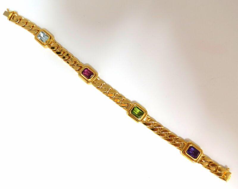 12.00ct Natural Tourmaline Amethyst Aquamarine Cuban Link 18kt Bracelet+