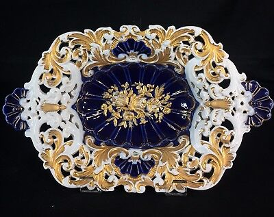 "Antique Reticulated Cobalt Blue Gold Gilt Meissen Centerpiece Bowl , 14.5"" Wide"