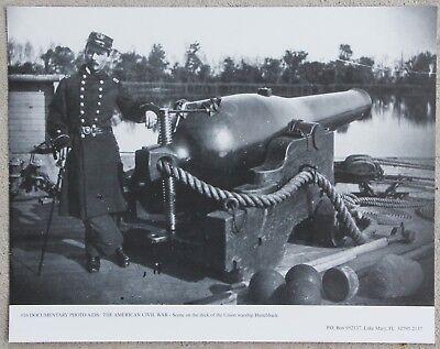 Vintage 11x14 Photograph Civil War, Canon on deck of USS Hunchback- Navy Gunboat