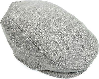 Men's Check Stripe Ivy Cap Cotton Blend Cabbie Driving Flat Hat Lined Gray
