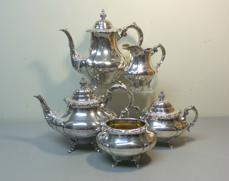 5-Piece Reed & Barton GEORGIAN ROSE Sterling Silver Coffee / Tea Set