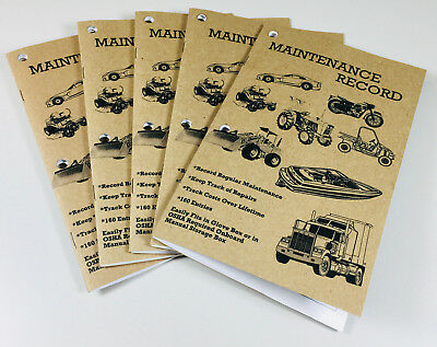 Maintenance Record Service Repair History Log Book 5pk Auto Boat Truck Tractor