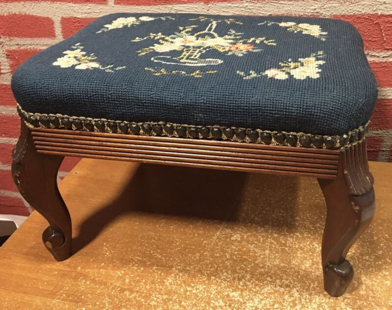 Vintage Needlepoint Footstool - Wood Legs - Dark Blue With Flowers