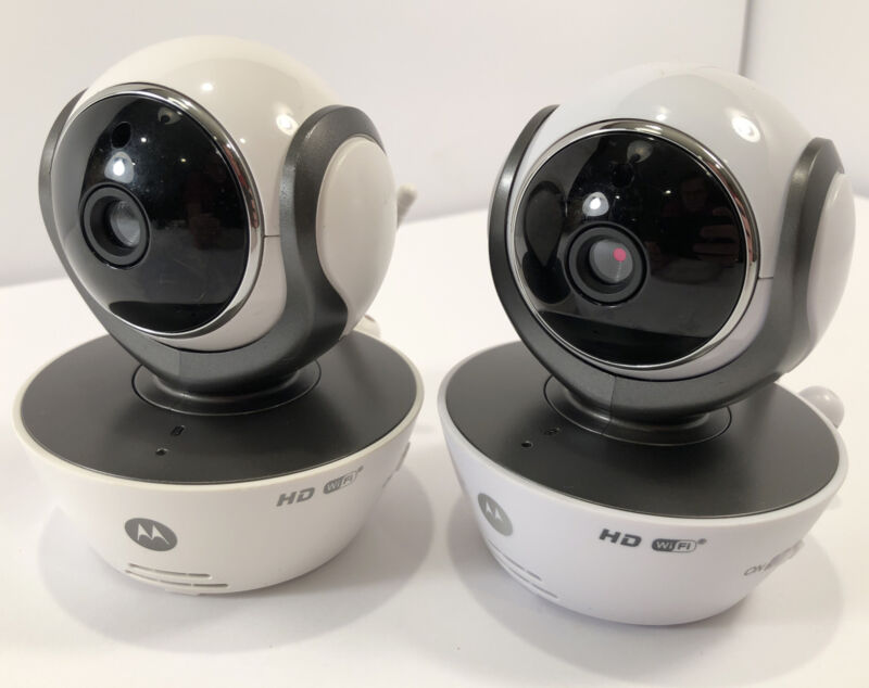 Pair of HD Motorola MBP855CONNECT WIFI Cameras with One Power Supply - Lot of 2