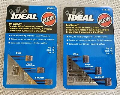 2 Packs Ideal Push-in Wire Connector 3-port 30-285 10 Pc 5 Port 30-287 10 Pc