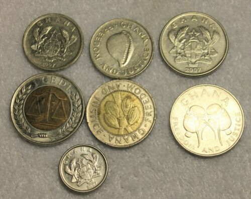 set of 7 different coins from Ghana