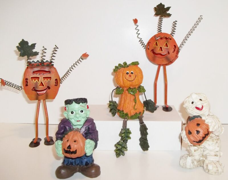 "5 Halloween Fall Figures Resin Mummy Ghost Tin Pumpkin Sitter 9"" Decorations"