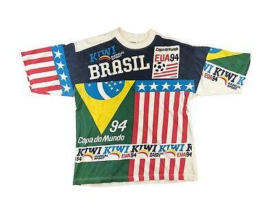 Vintage World Cup Shirt Brazil Soccer 1994 90s All Over Print Brasil Football V5 image