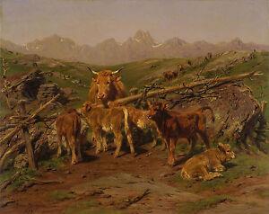 Rosa Bonheur, 1879, antique print, Cow, Calves, Landscape, 17