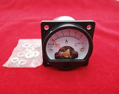 1pc Dc 0-5a Analog Ammeter Panel Amp Current Meter So45 Cutout 45mm