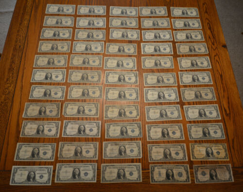 Lot of 55 1928  1935 1957 + Star One Dollar Silver Certificates Bills Notes