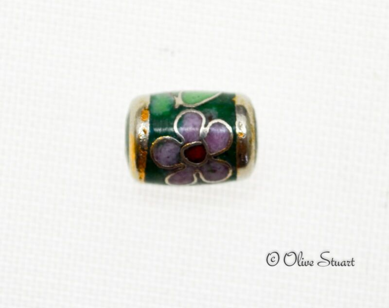 Oriental Cloisonne Beads Loose 10mm x 8mm fat tube