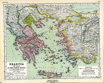 - 1903 old antique map of ANCIENT WORLD empire GREECE Greek TURKEY history atlas 5