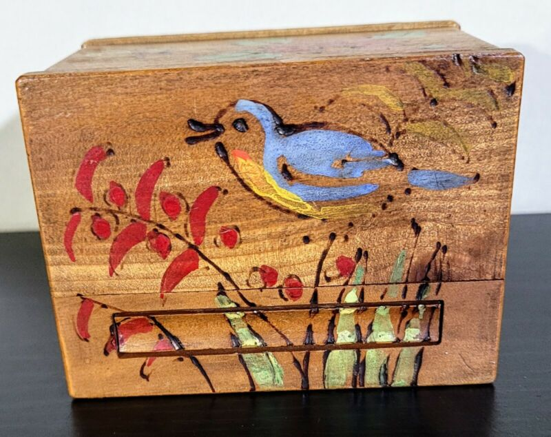 Wood Marquetry Vintage Trinket Box Cigarette Dispenser Hand Painted
