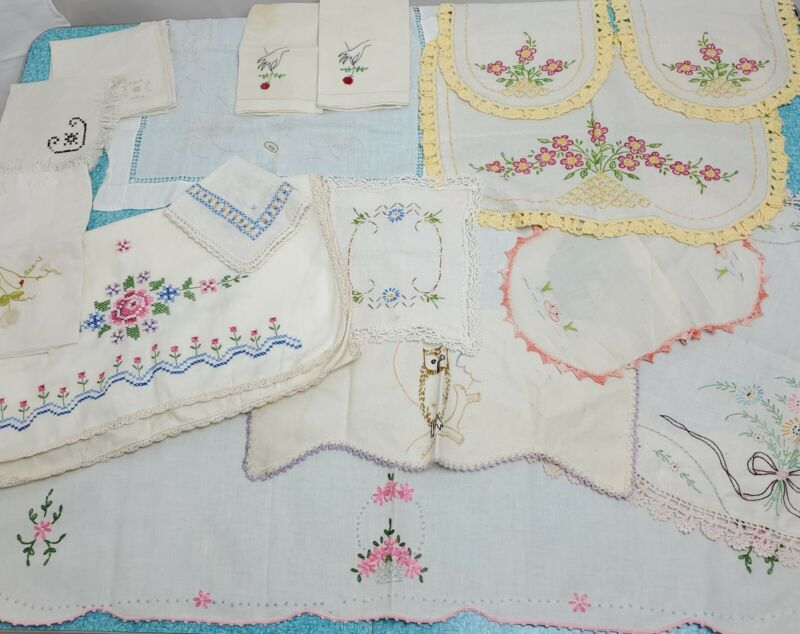 Vintage Embroidered Linen Table Runner Chair Cover Napkin Cutter As Is Lot of 17