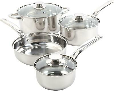 7-Pc Stainless Steel Cookware Set Kit Nonstick Cooking Pots Pans Home Kitchen
