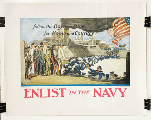 """Original US WWI Poster """"Enlist in the Navy"""", 1918, very uncommon !"""
