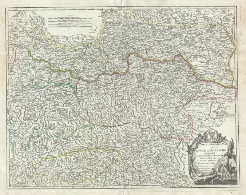 1752 Vaugondy Map of the Northern Part of Austria