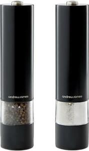 Andrew James Black Electronic Salt Pepper Mill Pot Electric Spice Shaker Grinder
