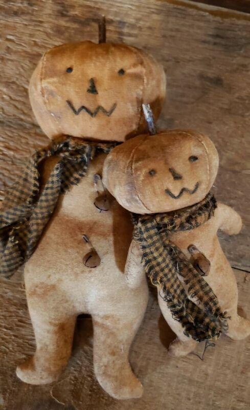 Primitve Pumpkin Jack o lantern Dolls, Fall, Halloween Set Of 2