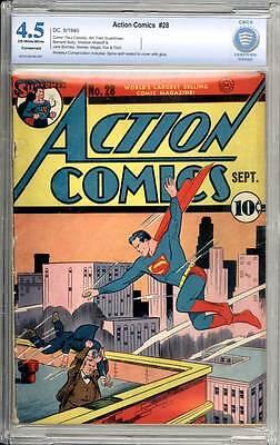 Action Comics # 28 Great Superman cover !  CBCS 4.5 rare Golden Age book !
